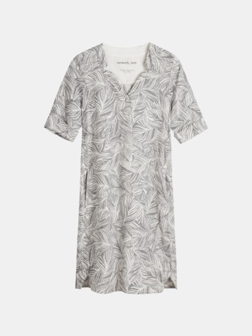 Sandwich Palm print cream and grey linen dress