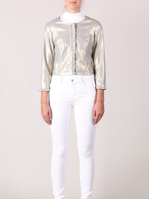 Rino and pelle gold faux leather gold jacket