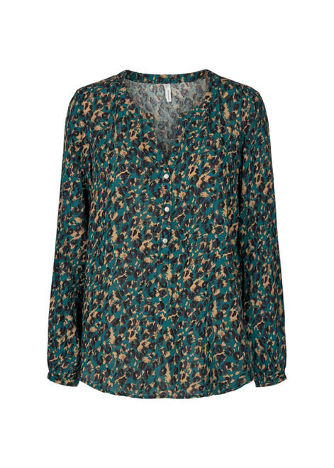 Soya Concept Teal/gold/ blk animal print blouse.