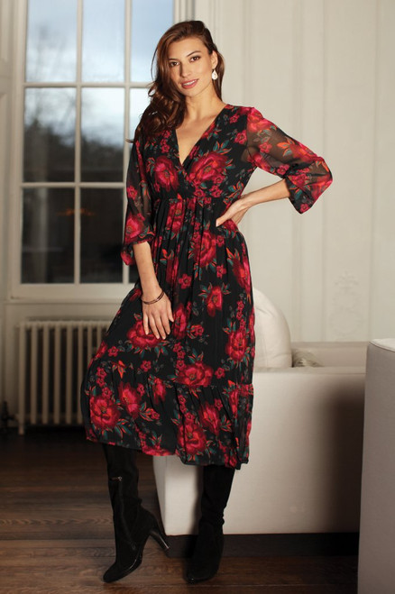 Pomodoro Exotic flower midi dress