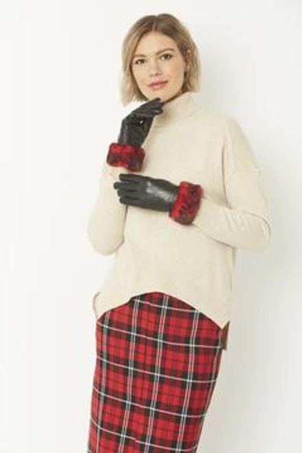 Leather gloves with faux trim