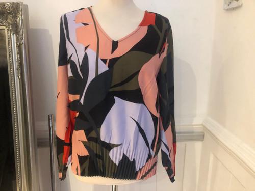 sandwich palm print blouse
