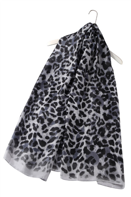 Large 100% Silk Graphite Animal printed scarf