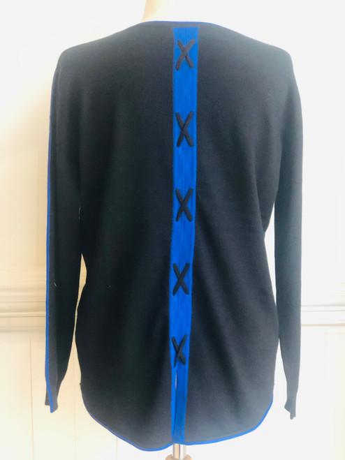Passioni Black sweater cross detail back sweater