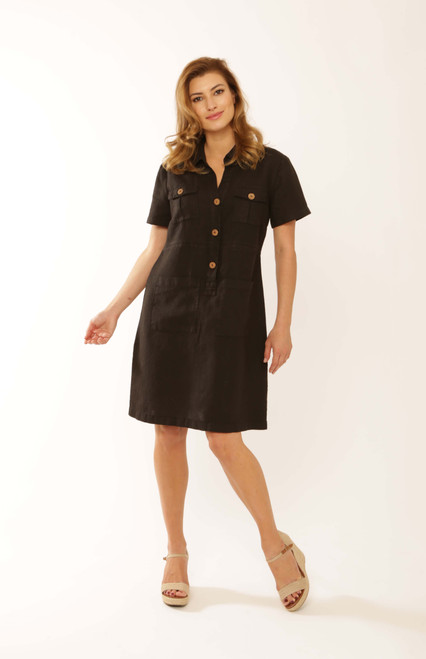 Pomodoro Black Safari Dress