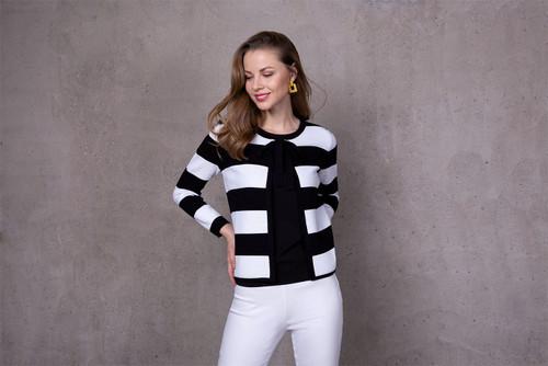 Passioni  Black and white striped Cardigan