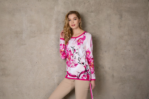 Passioni white background with hot pink trim and floral print