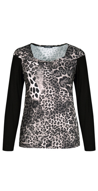 Dolcezza anumal print crossover necked top.