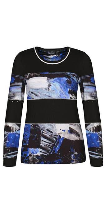 Dolcezza royal blue and black panelled top