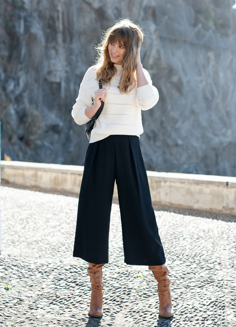 Marble Black cropped wide trouser