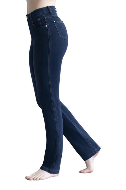 Marble indigo straight leg jean