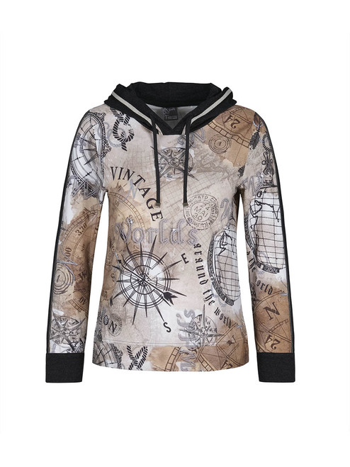 Dolcezza script print hooded top
