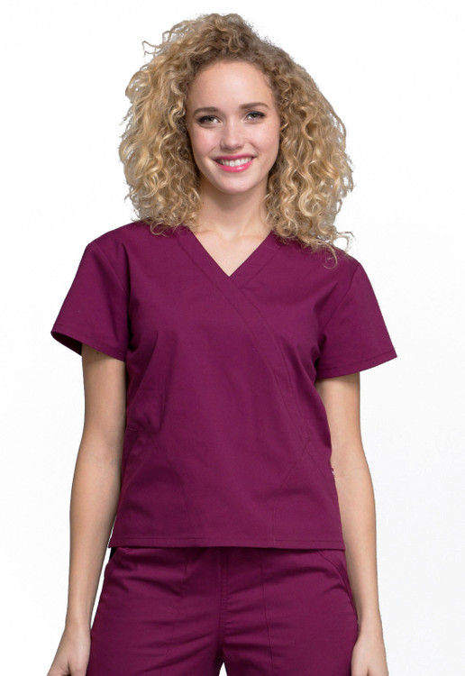 Cherokee Professionals Mock Wrap Top