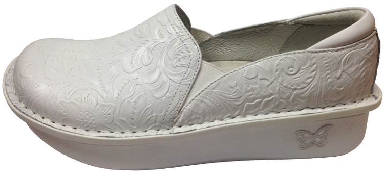 Alegria Women's Debra White Tooled Nursing Shoe