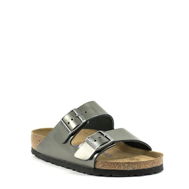 Birkenstock Arizona Metallic Anthracite Leather Soft Footbed