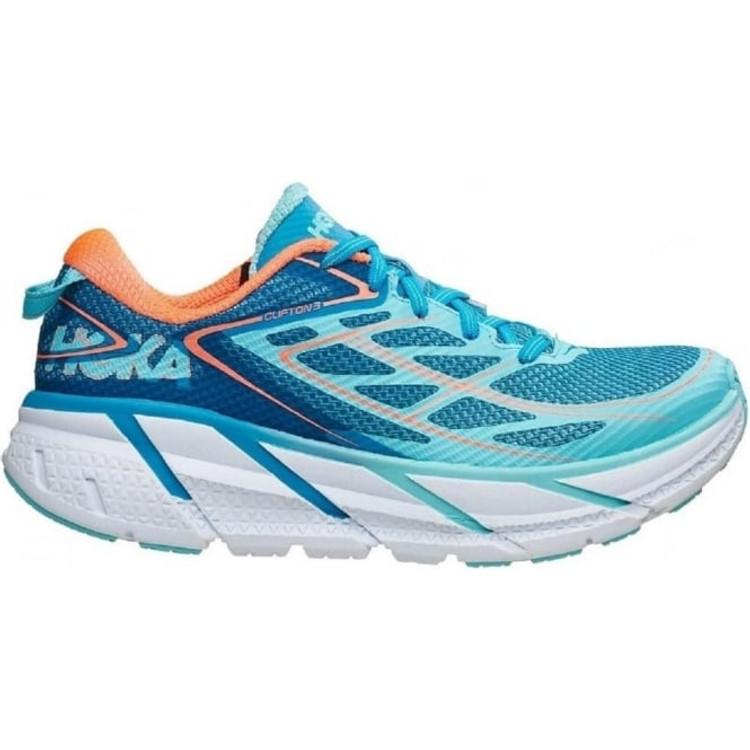 Hoka Clifton 3 Blue Jewel Neon Coral