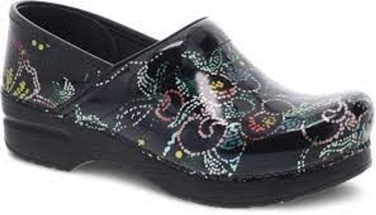 Dansko Floral Patent Dotted