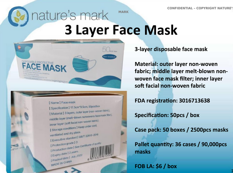 Nature's Mark 3 Layer Face Masks