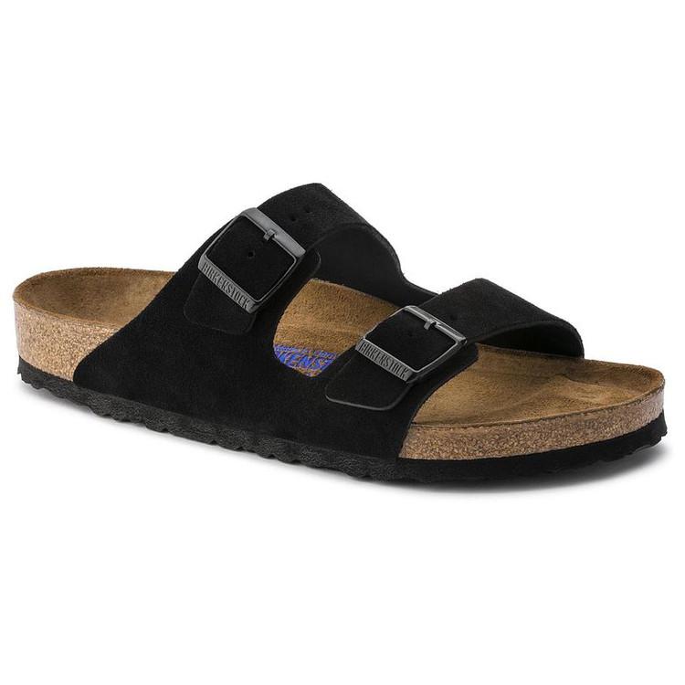 Birkenstock Arizona Black Suede Soft Footbed