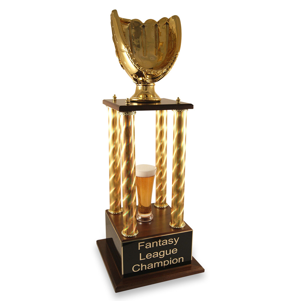 Gold glove fantasy baseball trophy with gold columns and beer options.