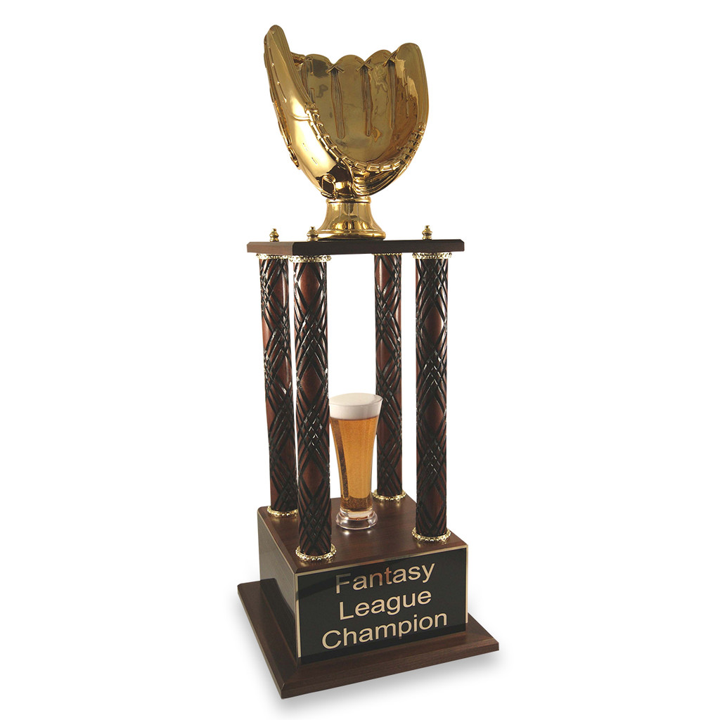 Gold glove fantasy baseball trophy with wood columns and beer options.