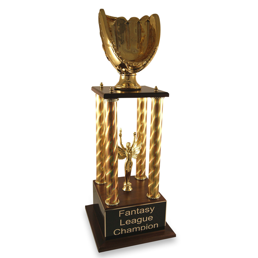 Gold glove fantasy baseball trophy with gold columns and lady victory options.