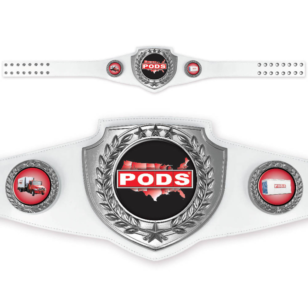 Custom White and Silver Championship Belt with bright polished silver finish