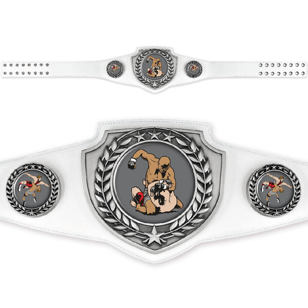 Custom White and Silver Championship Belt with elegant antique silver finish