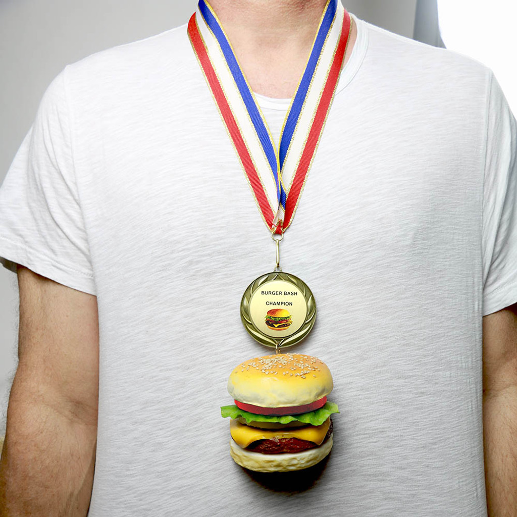 Wearing Cheeseburger Medal