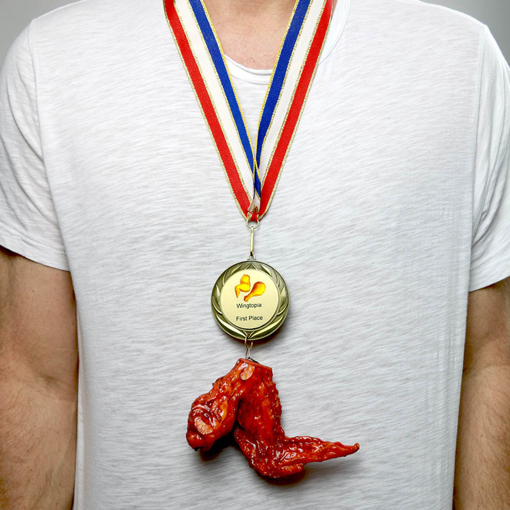 Wearing Chicken Wing Medal
