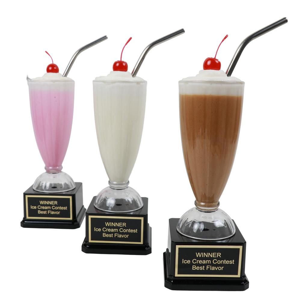Vanilla, Strawberry, Chocolate Milkshake Trophies