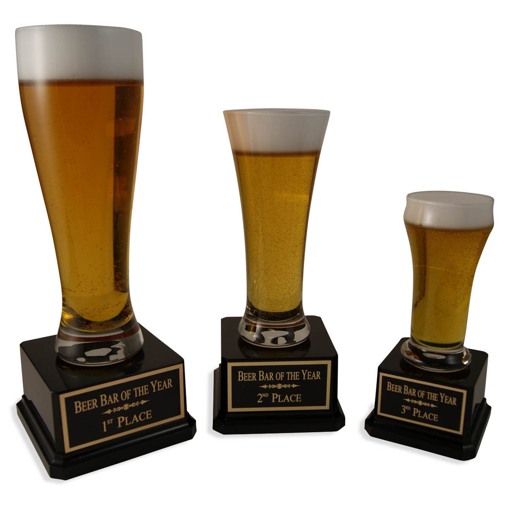 These three beer trophies are perfect as 1st, 2nd, and 3rd place awards for any beer related event!