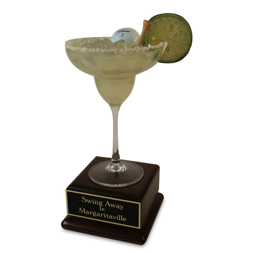 MarGREENita on Wood Base Golf Trophy