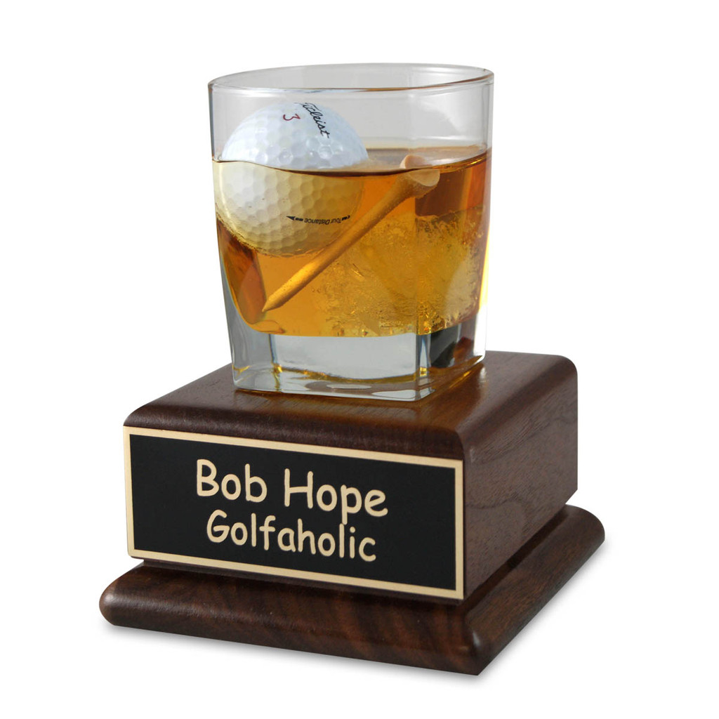 Scotch Golfer on Wood Base Trophy