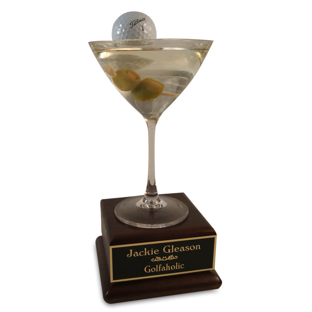 Golf MarTEEni on Wood Base Trophy