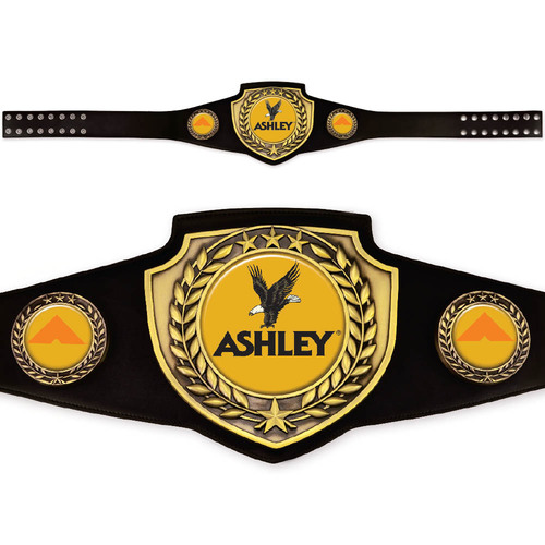 Custom Black and Gold Championship Belt with elegant antique finish