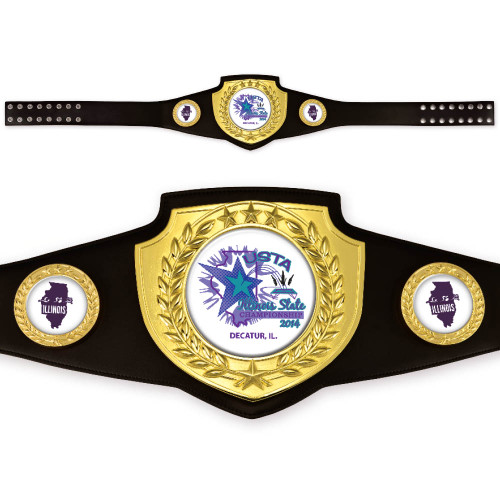 Custom Black and Gold Championship Belt with bright polished finish