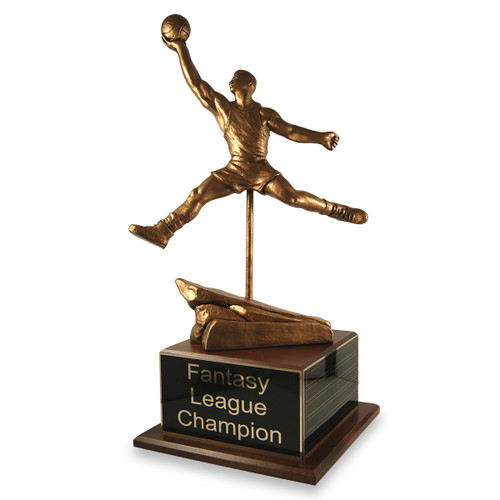 Finger Roll Basketball Trophy with Perpetual Side Plate