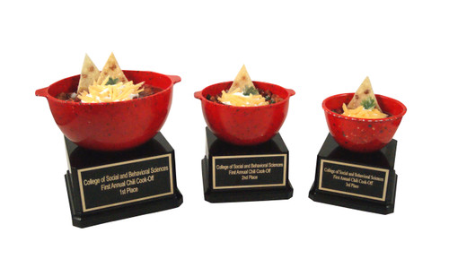 Large, Medium and Small Bowl of Chili Trophy
