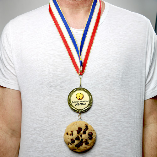 Wearing a Chocolate Chip Cookie Medal with Personalized Medal