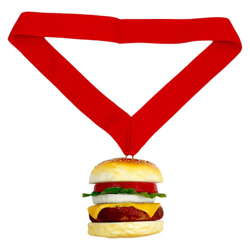 Cheeseburger Medal with Red Ribbon