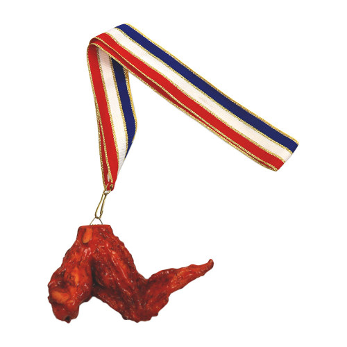 Chicken Wing Medal on Red, White and Blue Ribbon