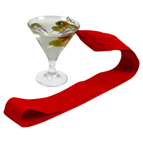 Olive Martini with Red Ribbon