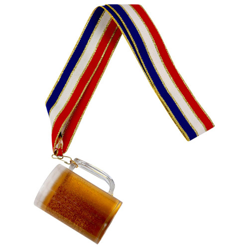Beer Mug Medal with Red, White and Blue Ribbon