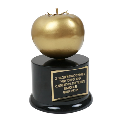 Golden Tomato Trophy Side View