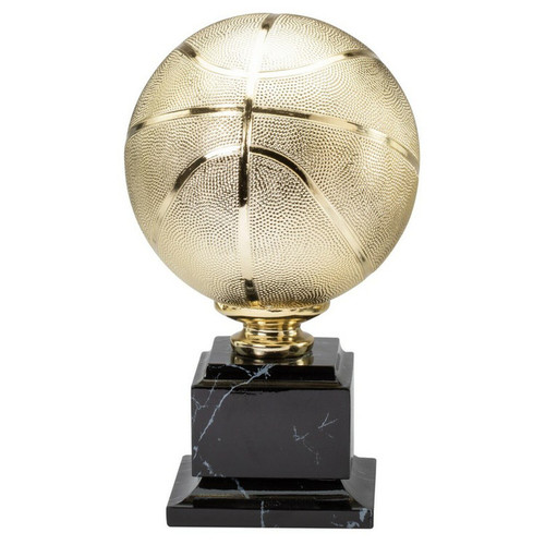 gold basketball trophy on faux marble base