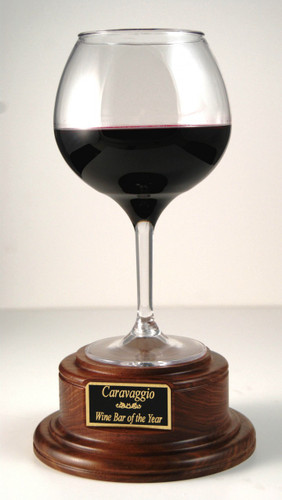 Red Wine Trophy on Wood Base