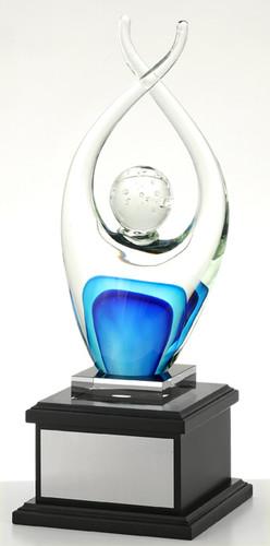 Reach - Hand Made Glass Art Trophy