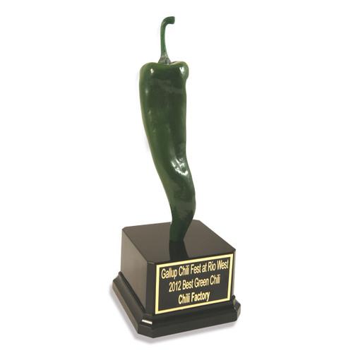 Green Pepper Jalapeno Trophy Tall Black Base