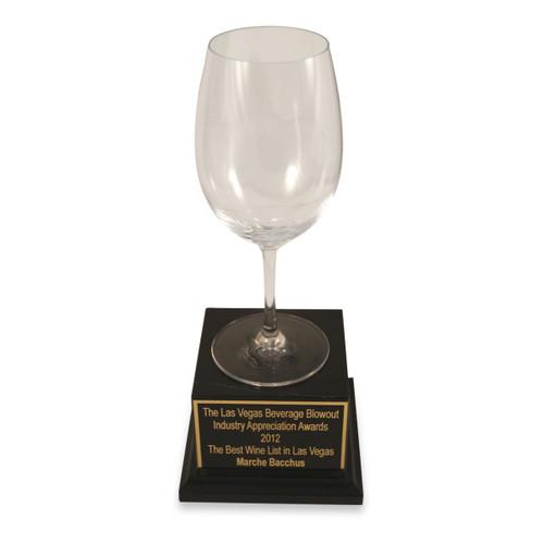 Empty Wine Glass Marble Base Trophy